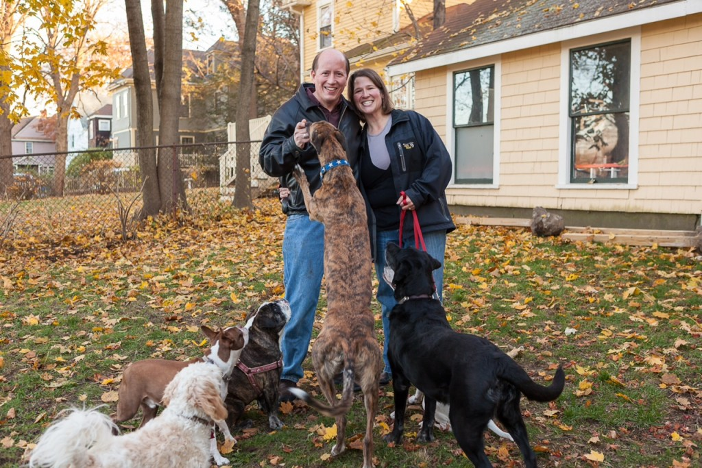 Heather, her husband, and some of their furry friends